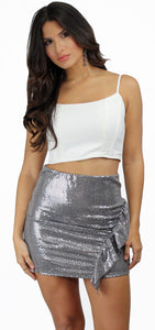 Check Me Out Silver Sequins Mini Skirt