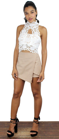 Road to Fame Nude Asymmetrical Shorts