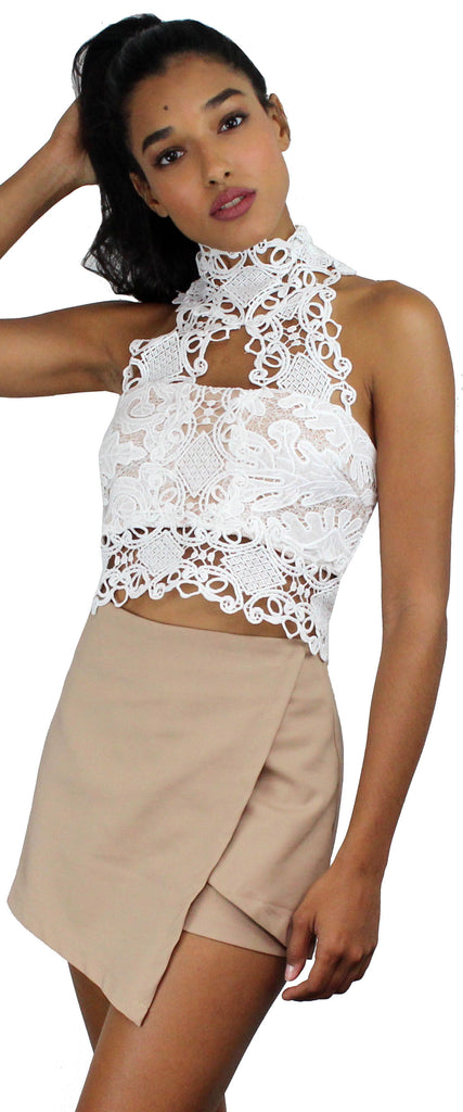 Perfect Escape White Lace Crop Top