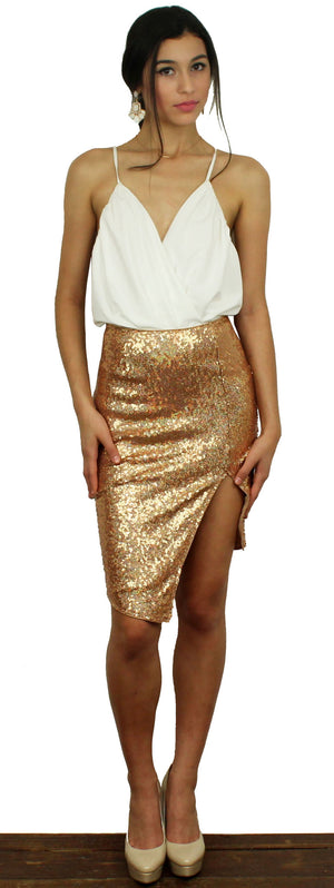 Pop the Bubbly Rose Gold Sequins Midi Skirt