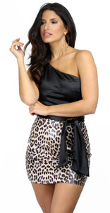 Trouble Maker Leopard Print Mini Skirt