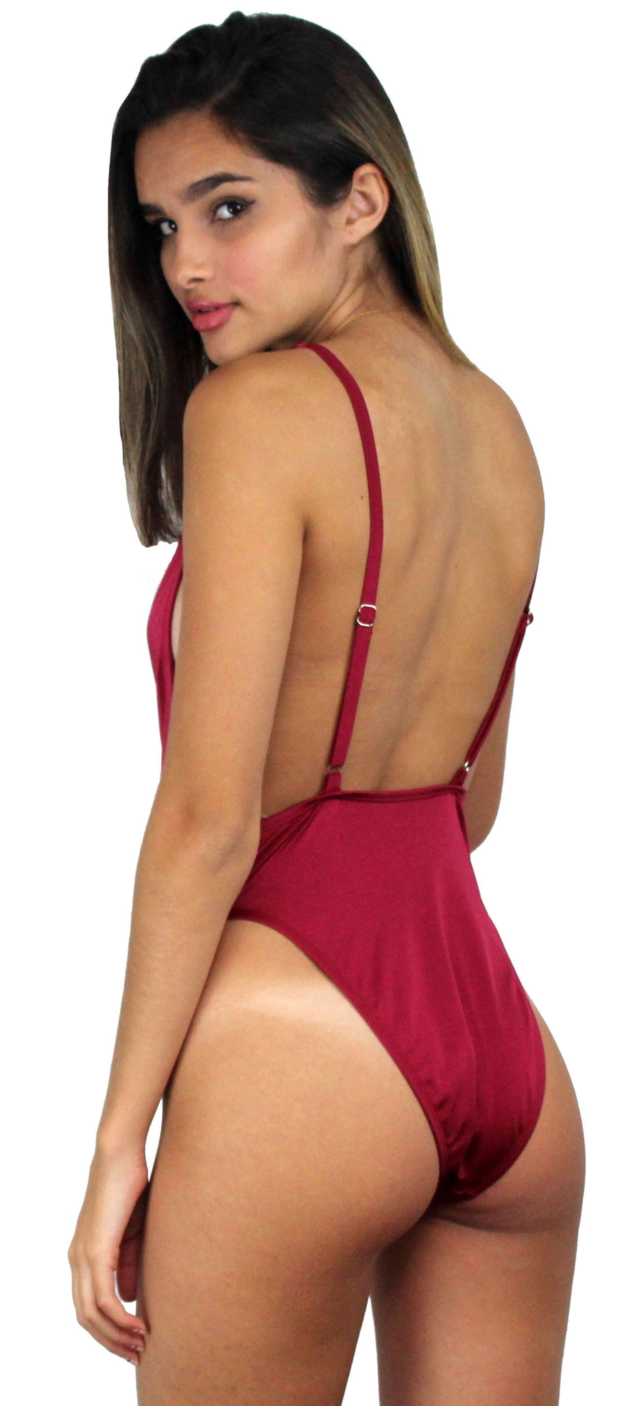 Get it Right Ruby V-Neck One Piece Swimsuit