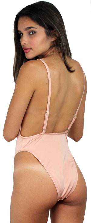 Get it Right Nude V-Neck One Piece Swimsuit