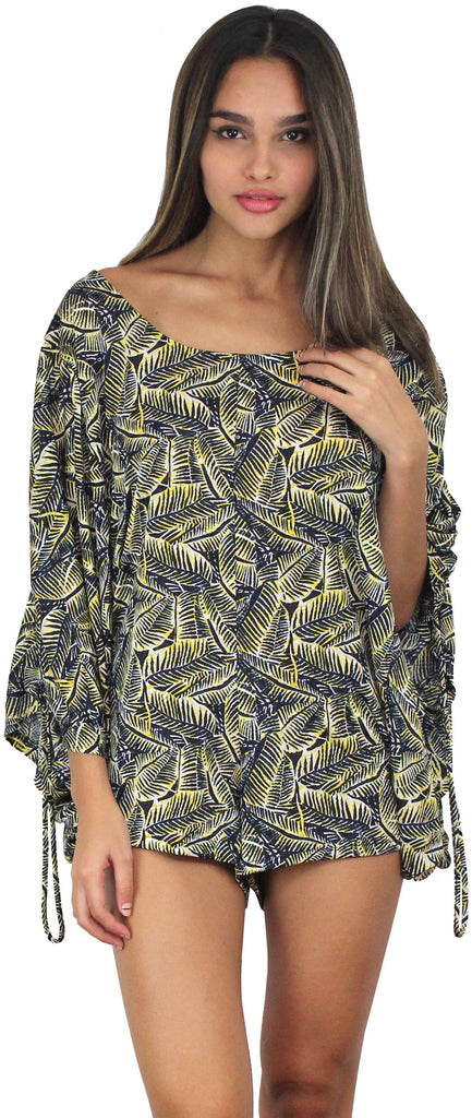 Set Free Navy & Yellow Tropical Romper