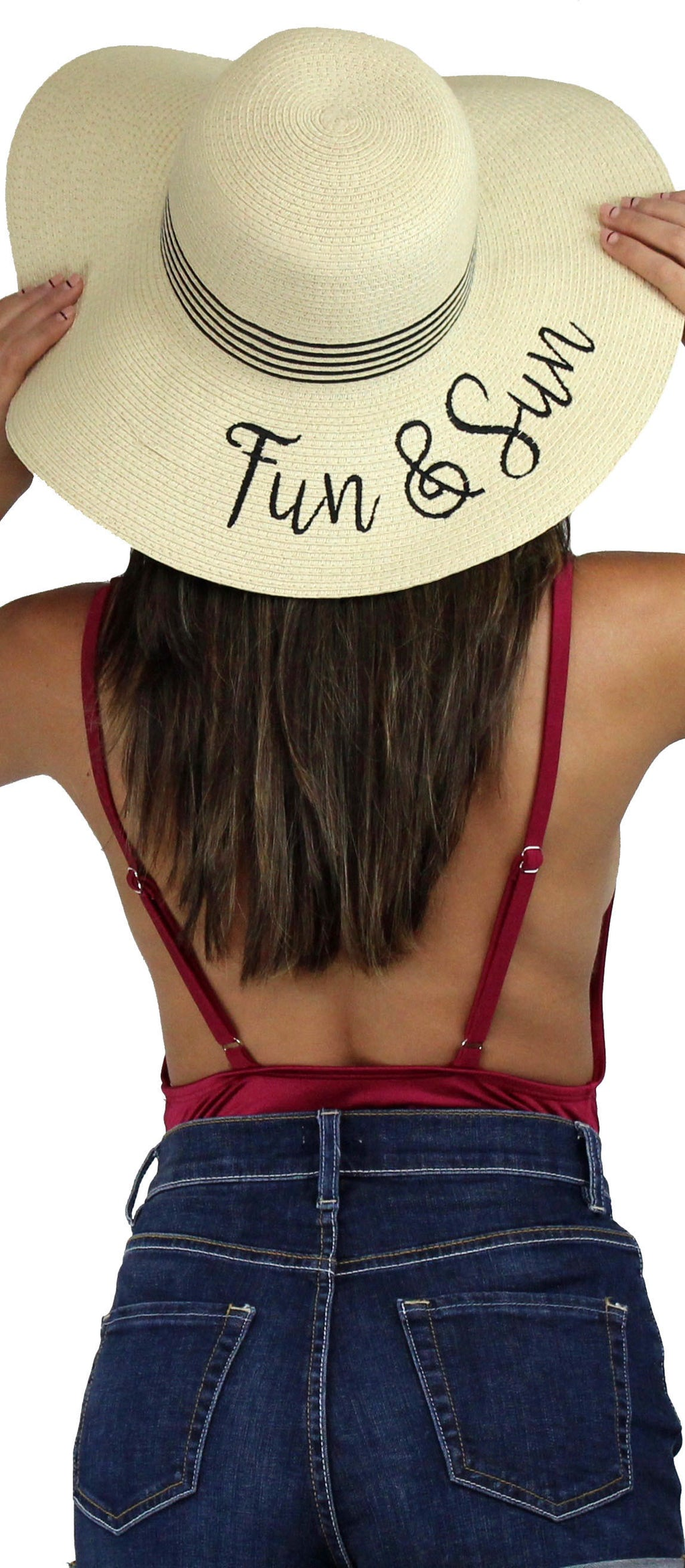 Fun & Sun Beige Floppy Straw Hat