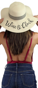 Wine O' Clock Beige Floppy Straw Hat