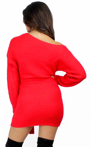 Cozy Affair One Shoulder Red Sweater Dress