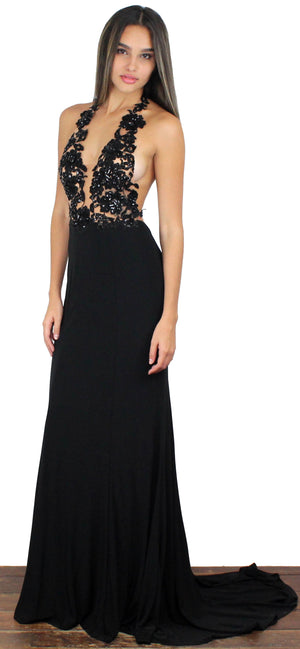 Evening Moon Black Halter Gown