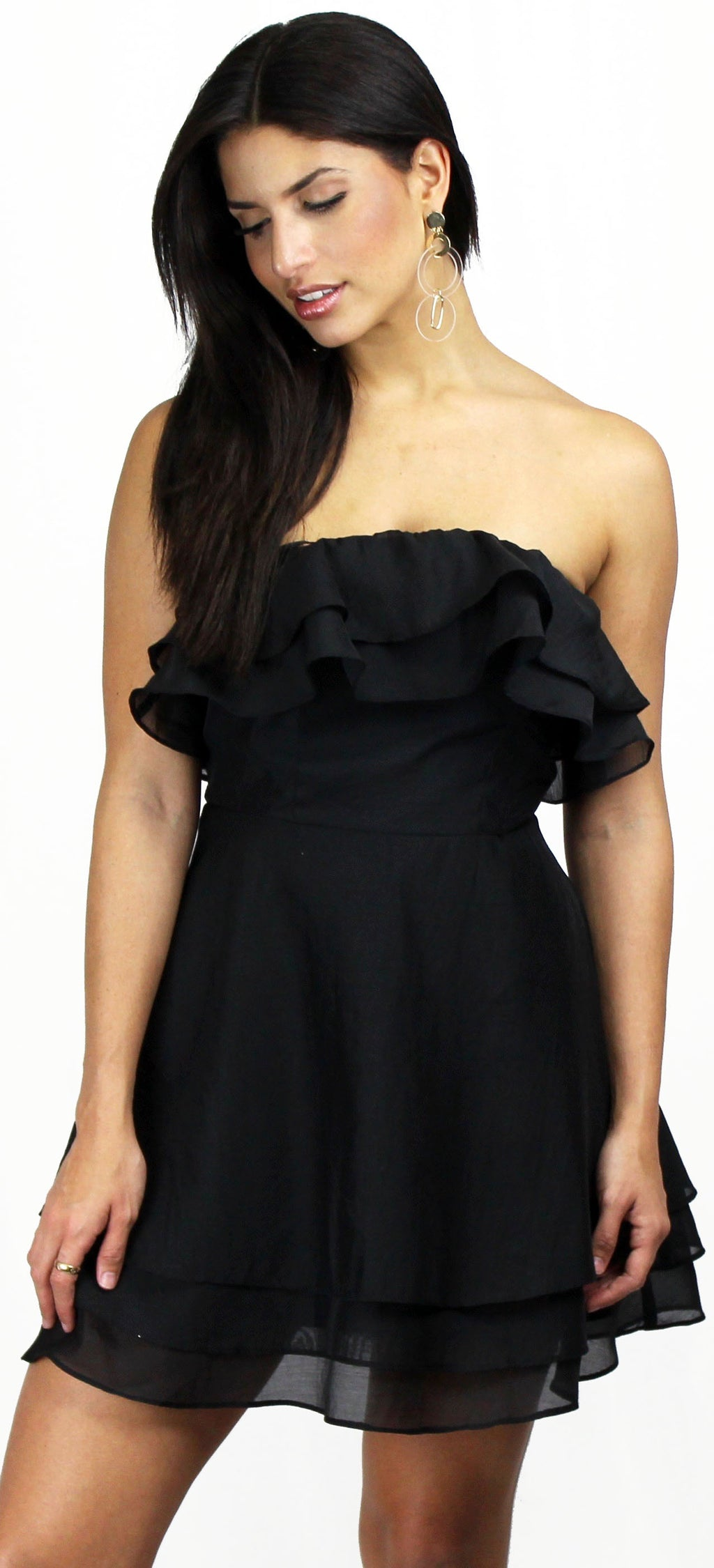Love Me Right Black Ruffle Skater Dress