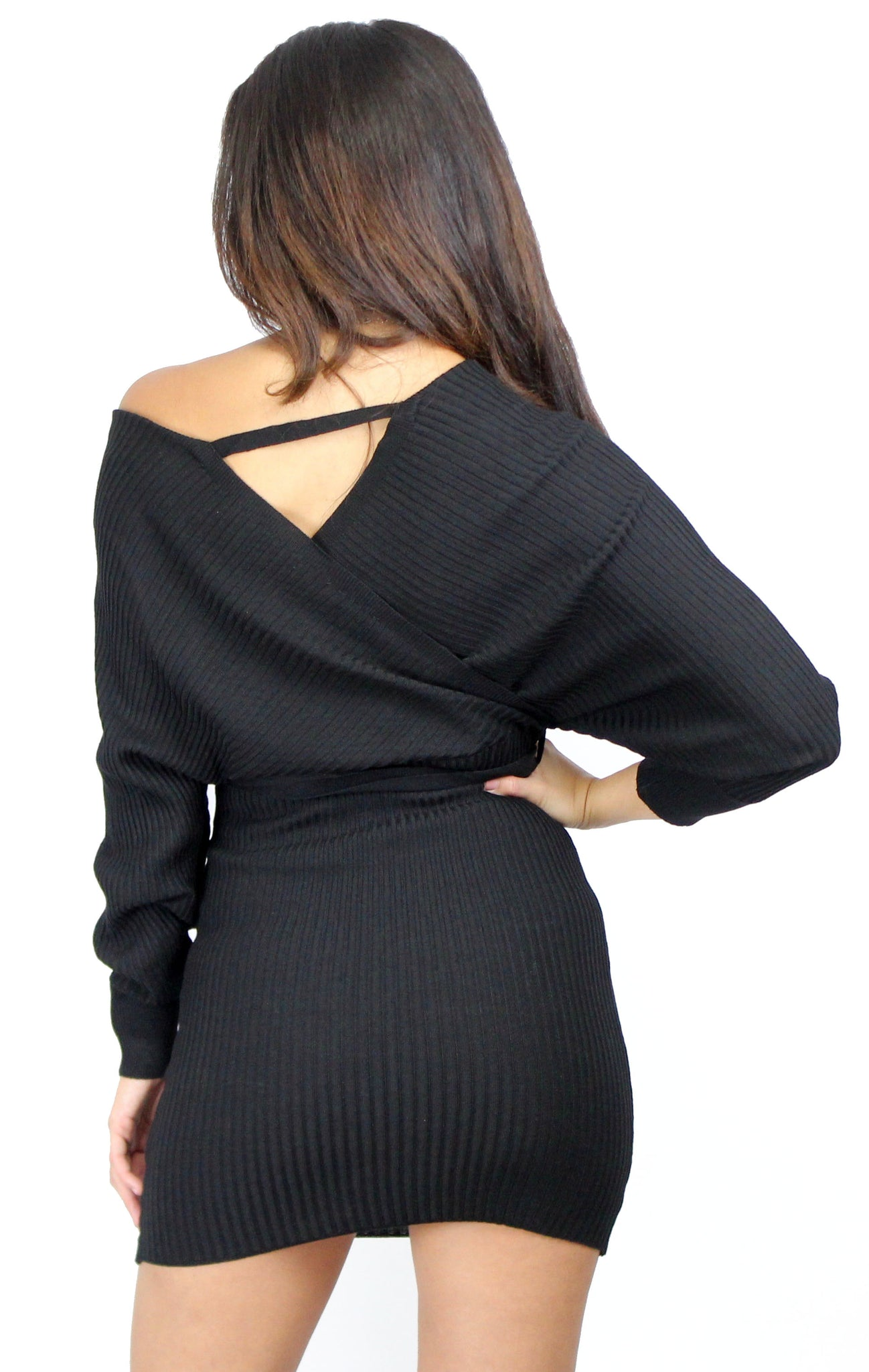 All Points to Chic Black Sweater Dress