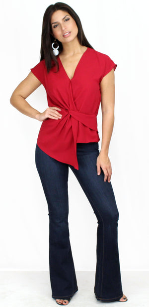 Feeling Myself Red Twist Blouse