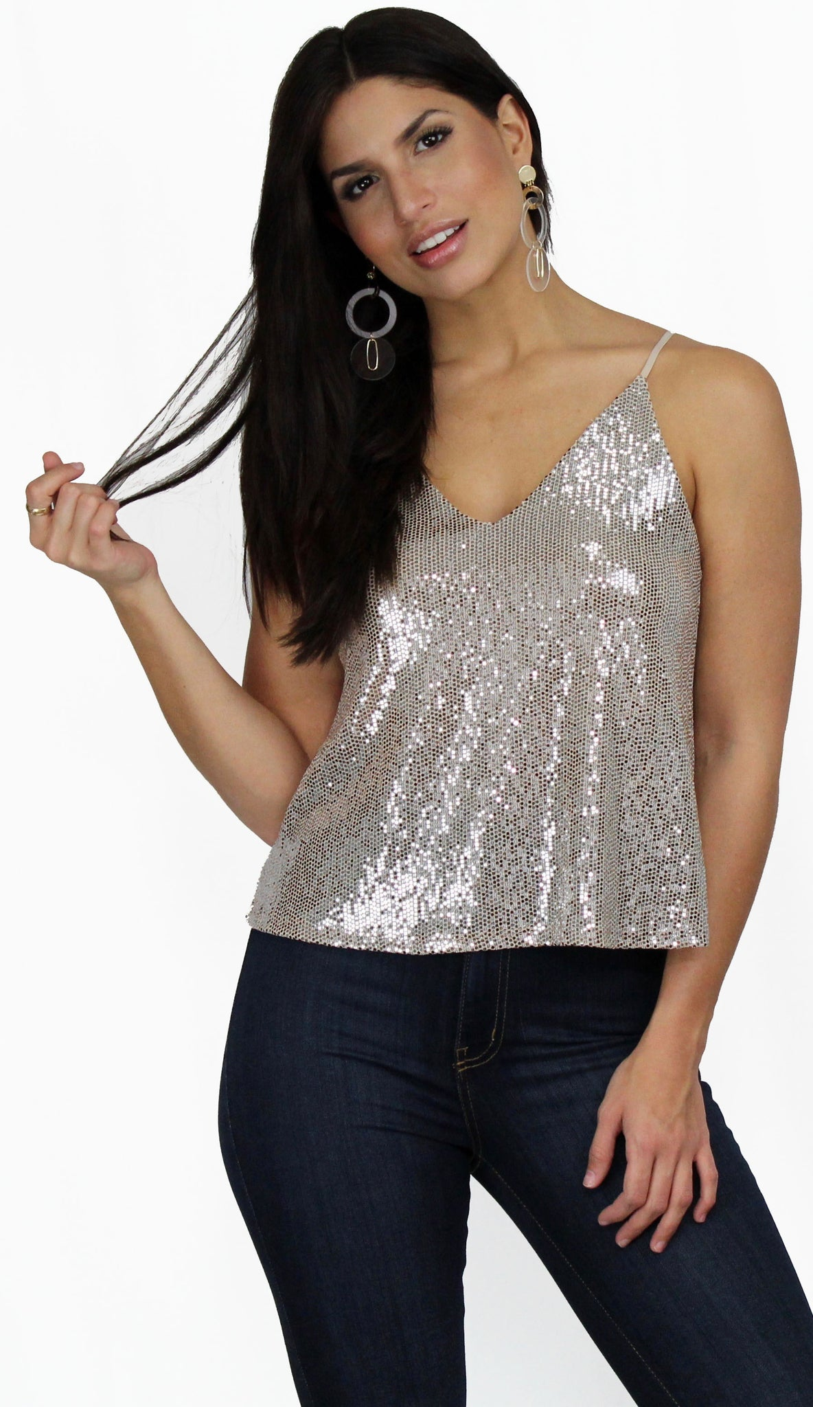 Kiss Me Again Gold Shimmer Tank Top
