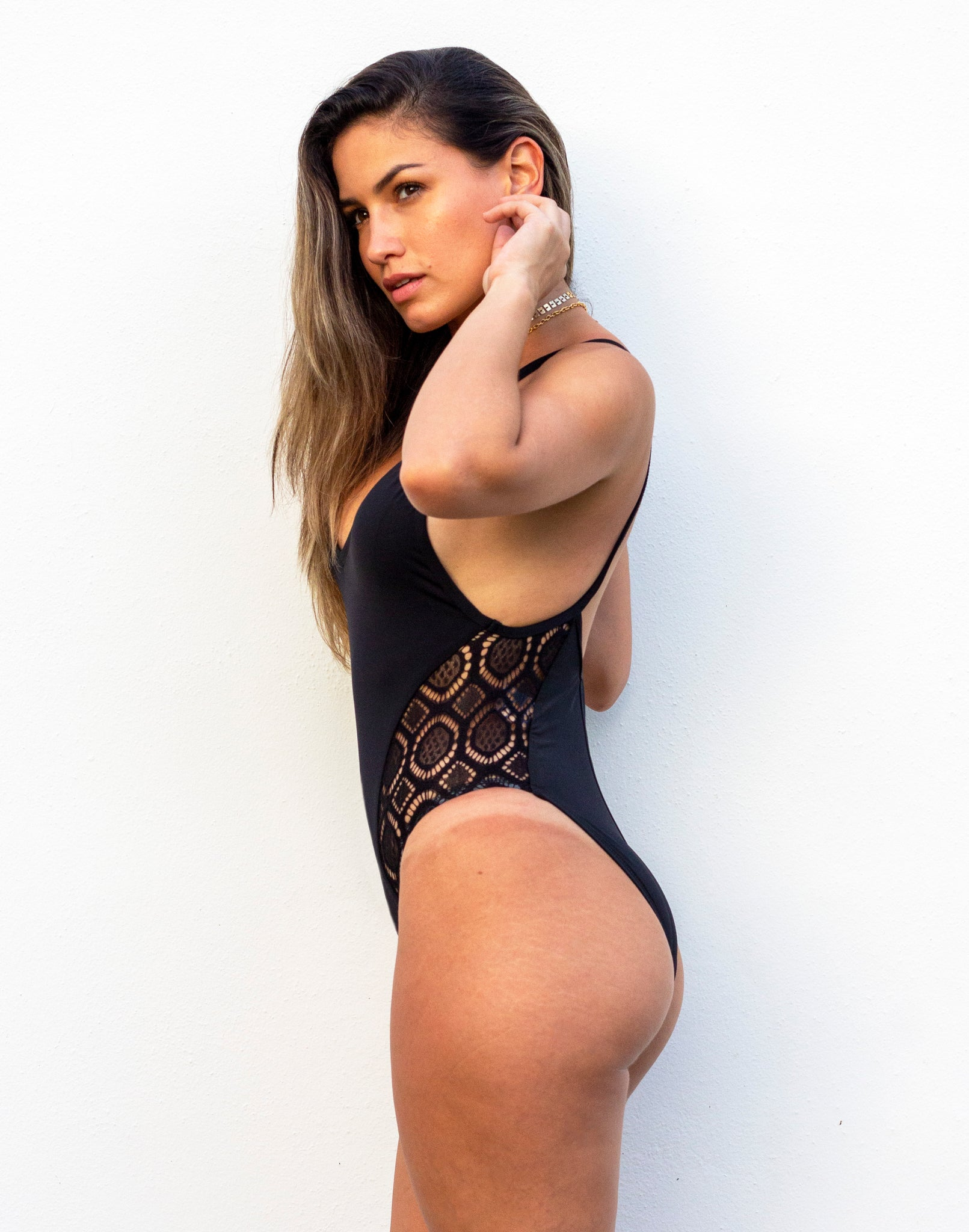 Lace in Black One Piece Swimsuit