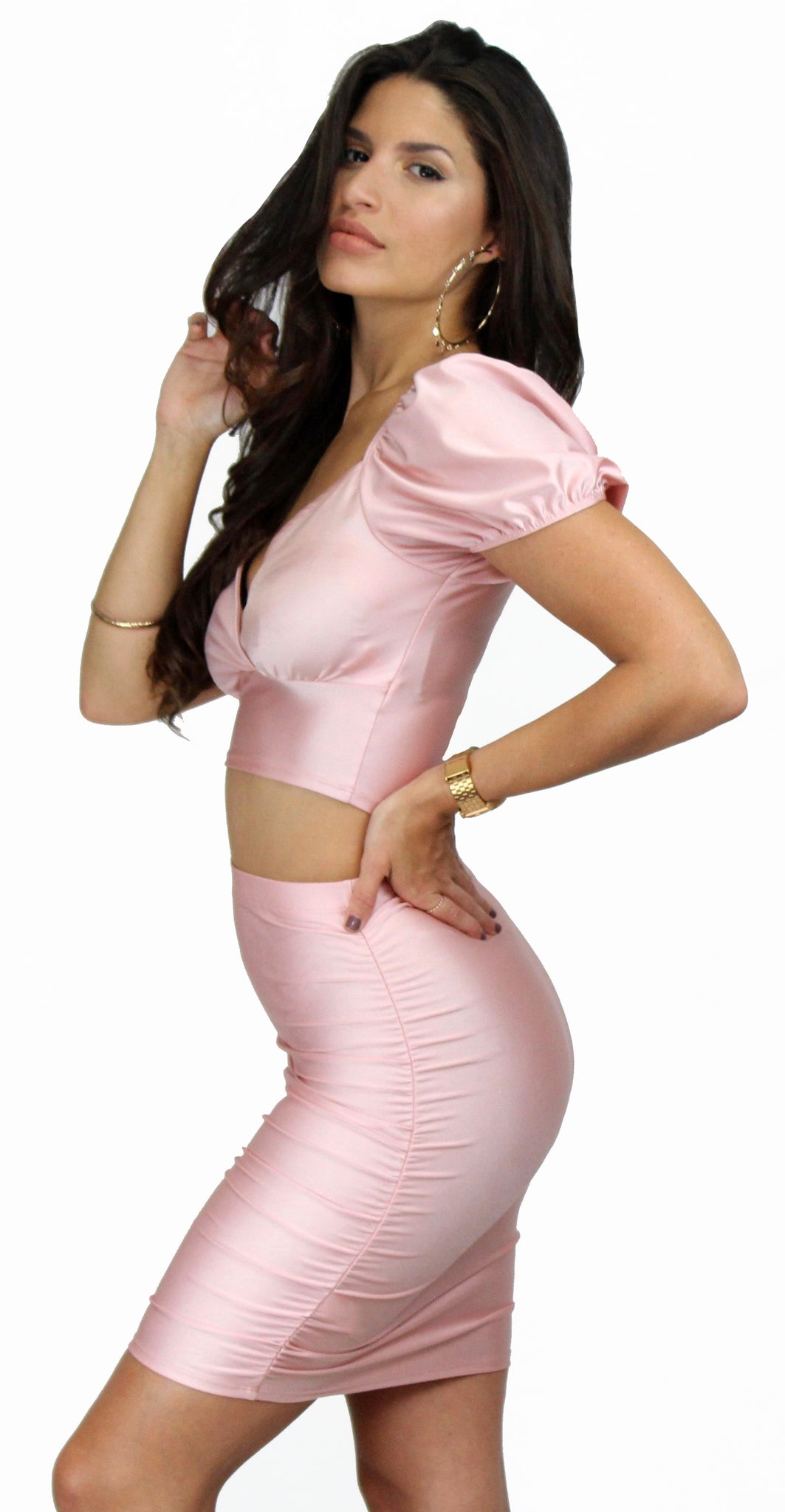 Rules of Romance Pink Satin Two-Piece Set