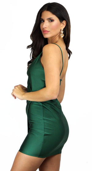 Just a Dash Hunter Green Satin Dress