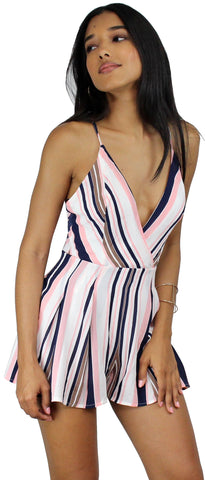 Get-Together Pink & Navy Striped Romper