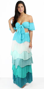 Amuse Society Blue Ruffles Two-Piece Set