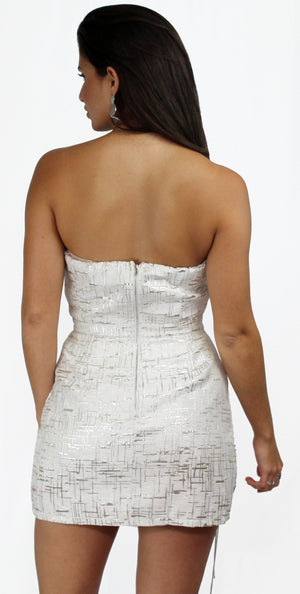 Iconic Moment White & Silver Shimmer Dress