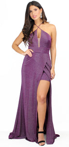Lovely as Always Shimmer Purple Formal Gown