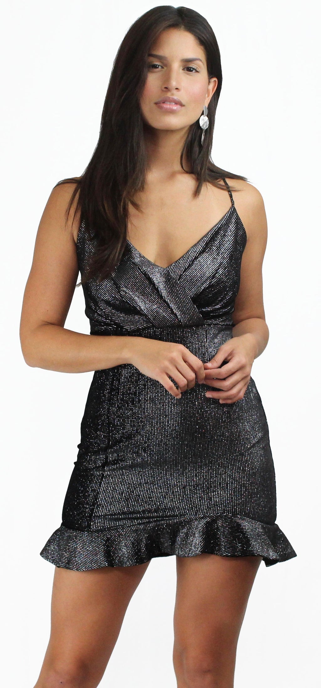 Be-All Trend-All Black Sparkle Lines Dress