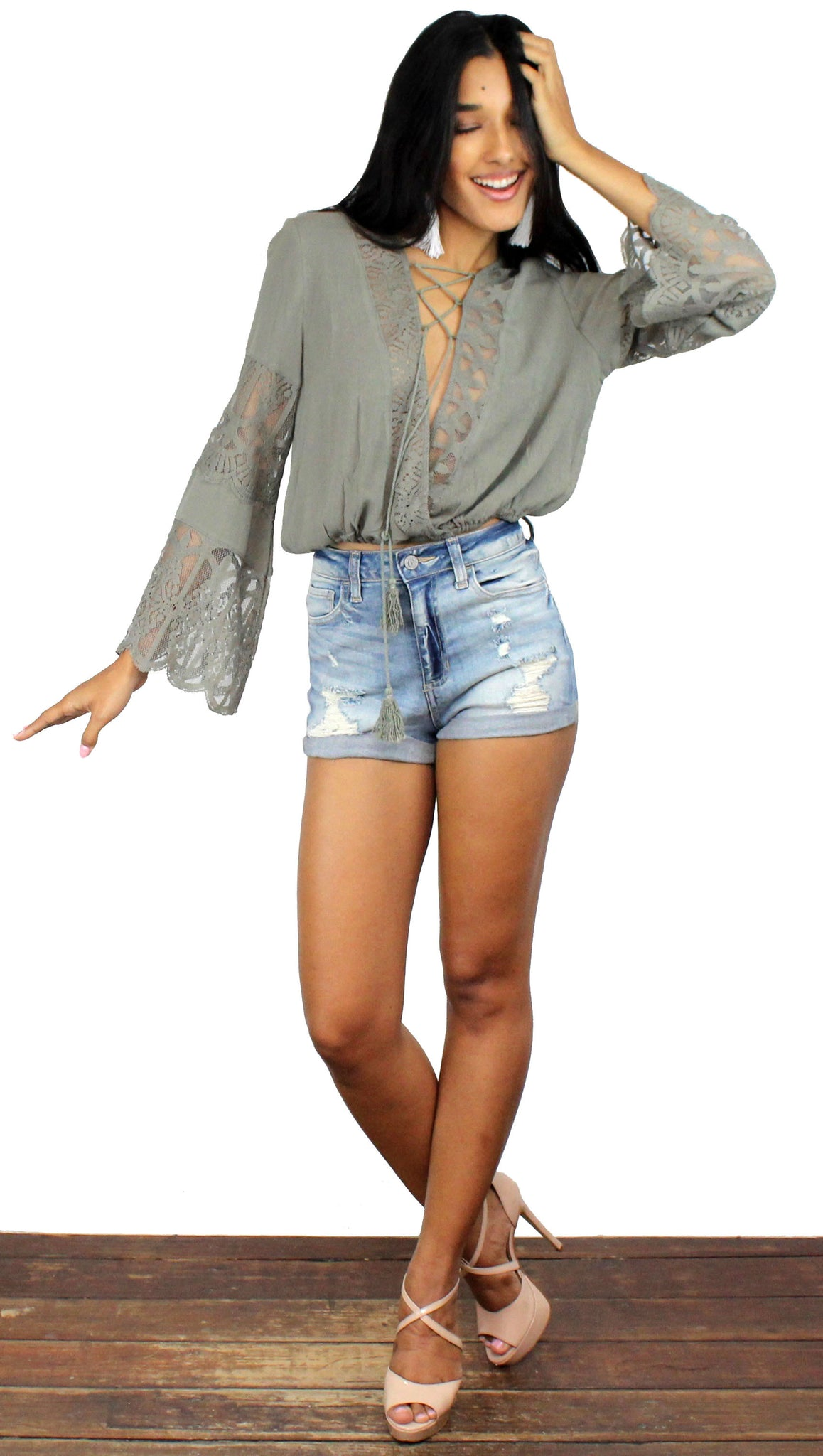 Must Have Summer Olive Long Sleeves Top