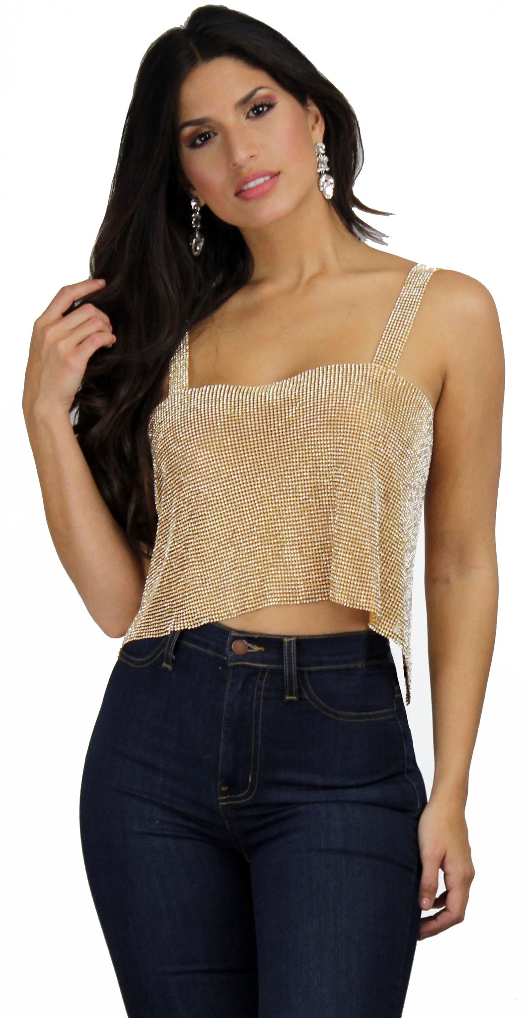 Showstopper Rhinestones Gold Crop Top