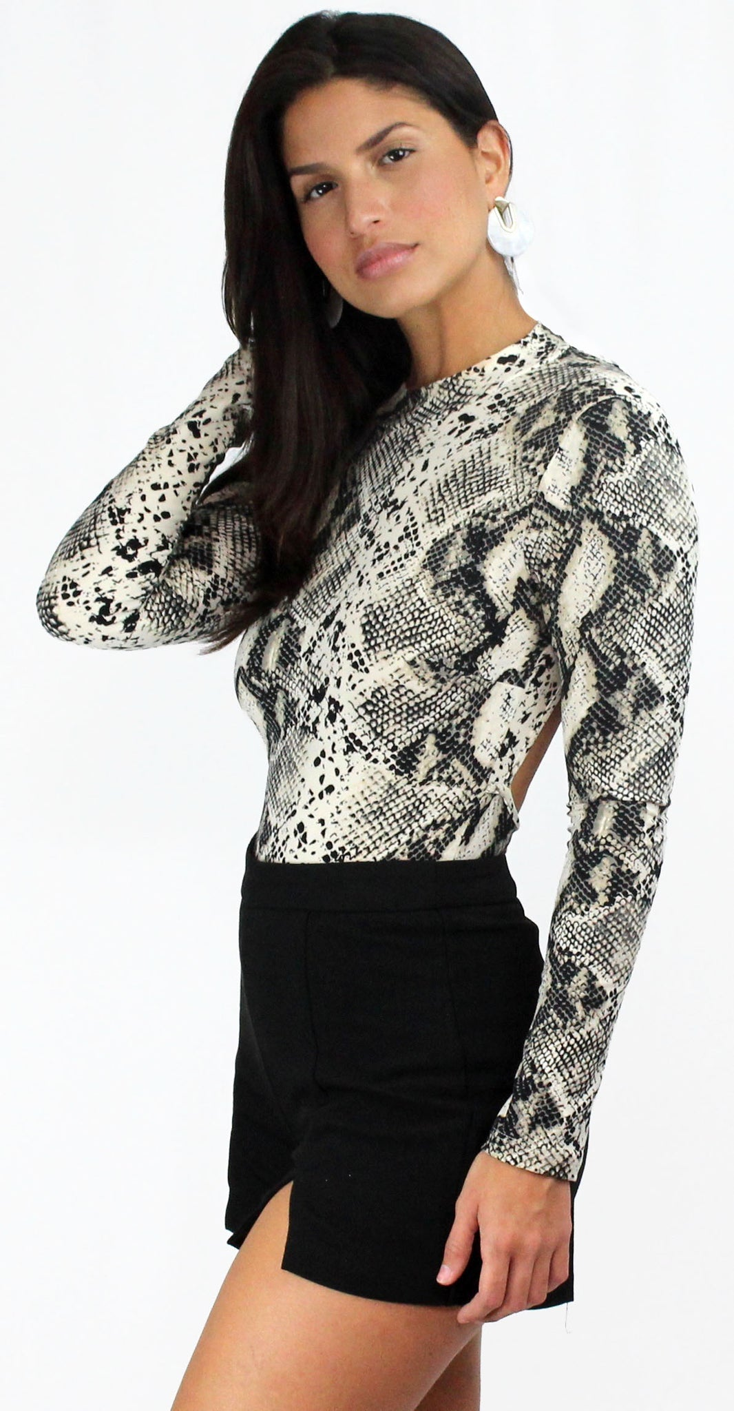 Snake it Off Grey Snake Print Bodysuit