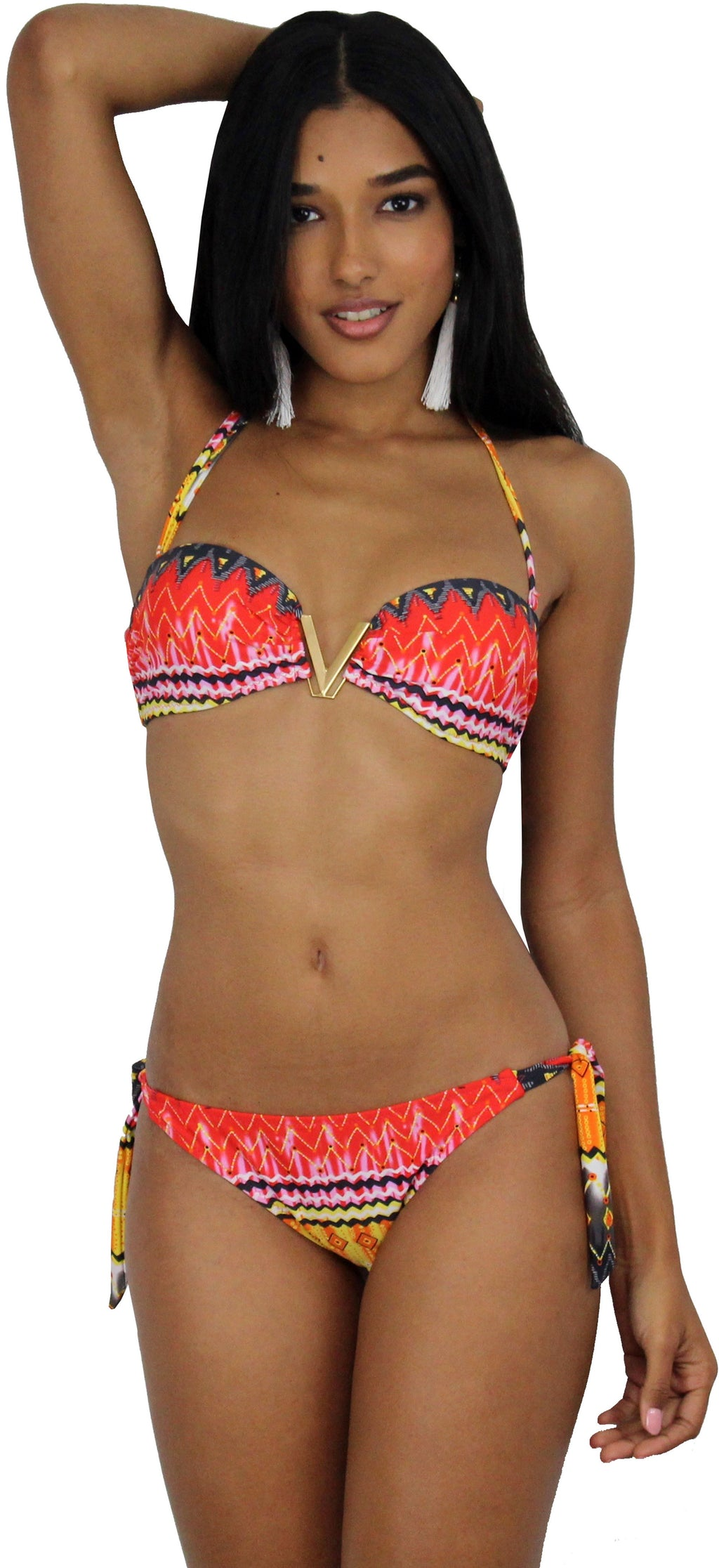 Love Summer Abstract Print Strapless Bikini