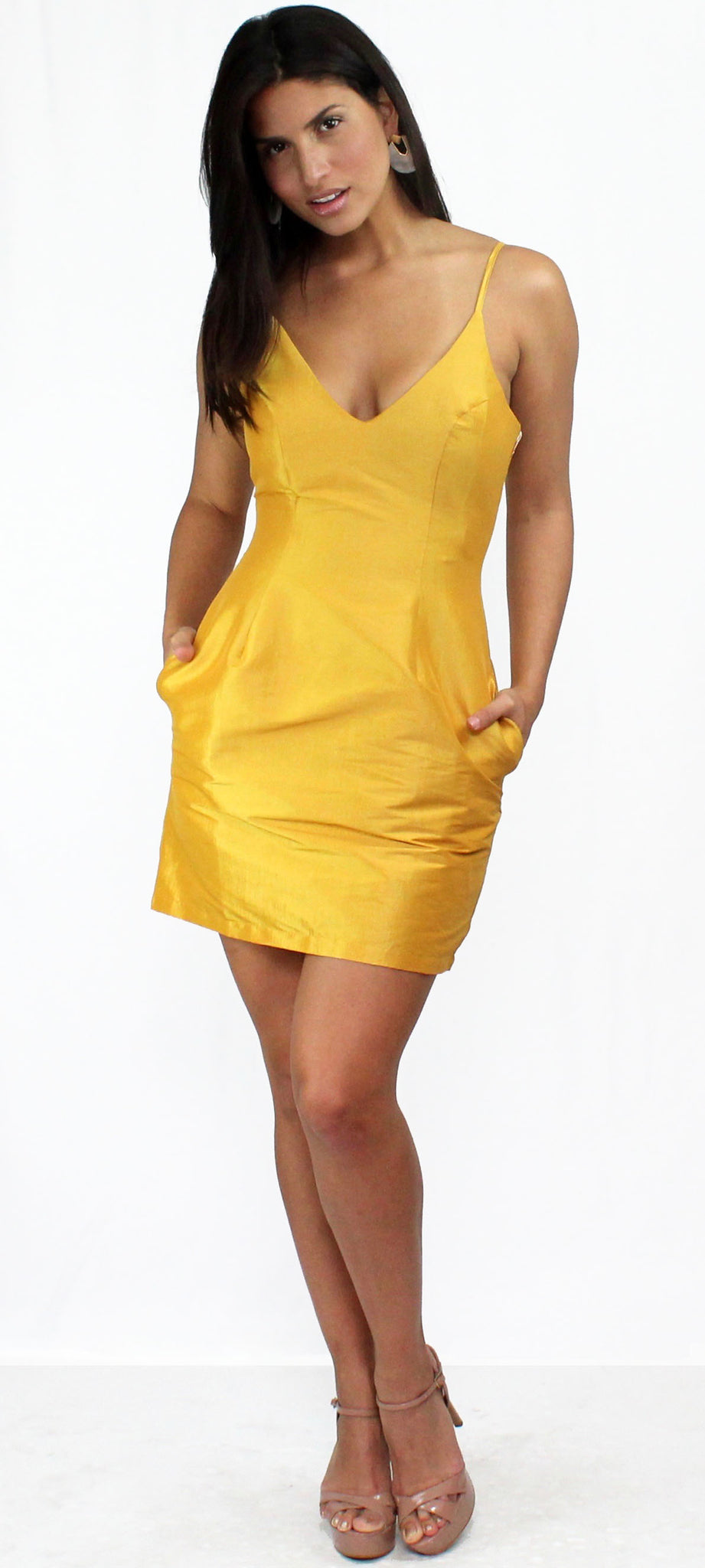 Simply Sultry Mustard Satin Mini Dress