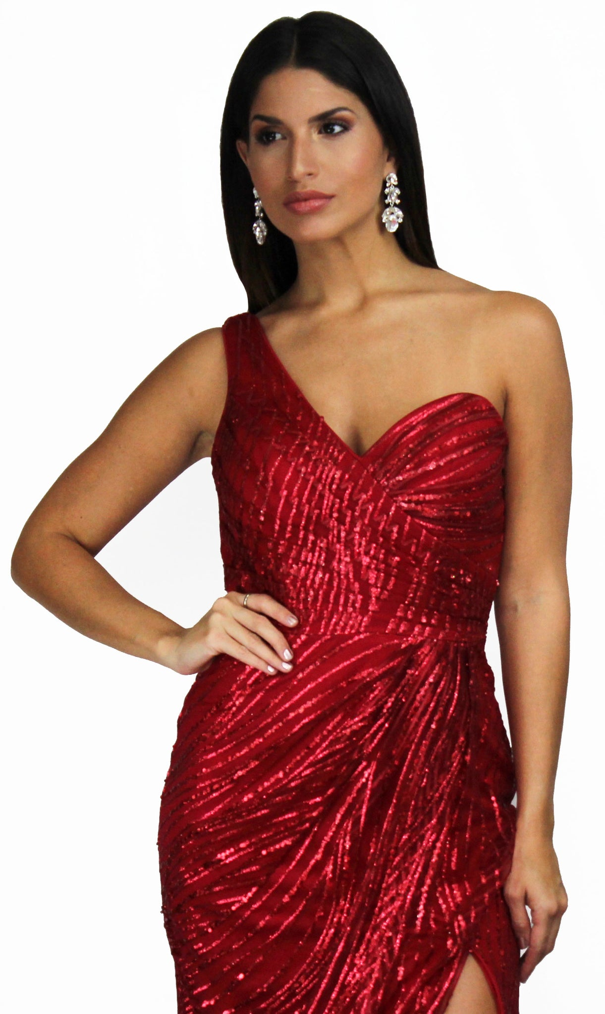 Radiant Devotion Burgundy One-Shoulder Gown