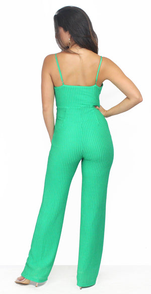 All the Attraction Green Knitting Jumpsuit