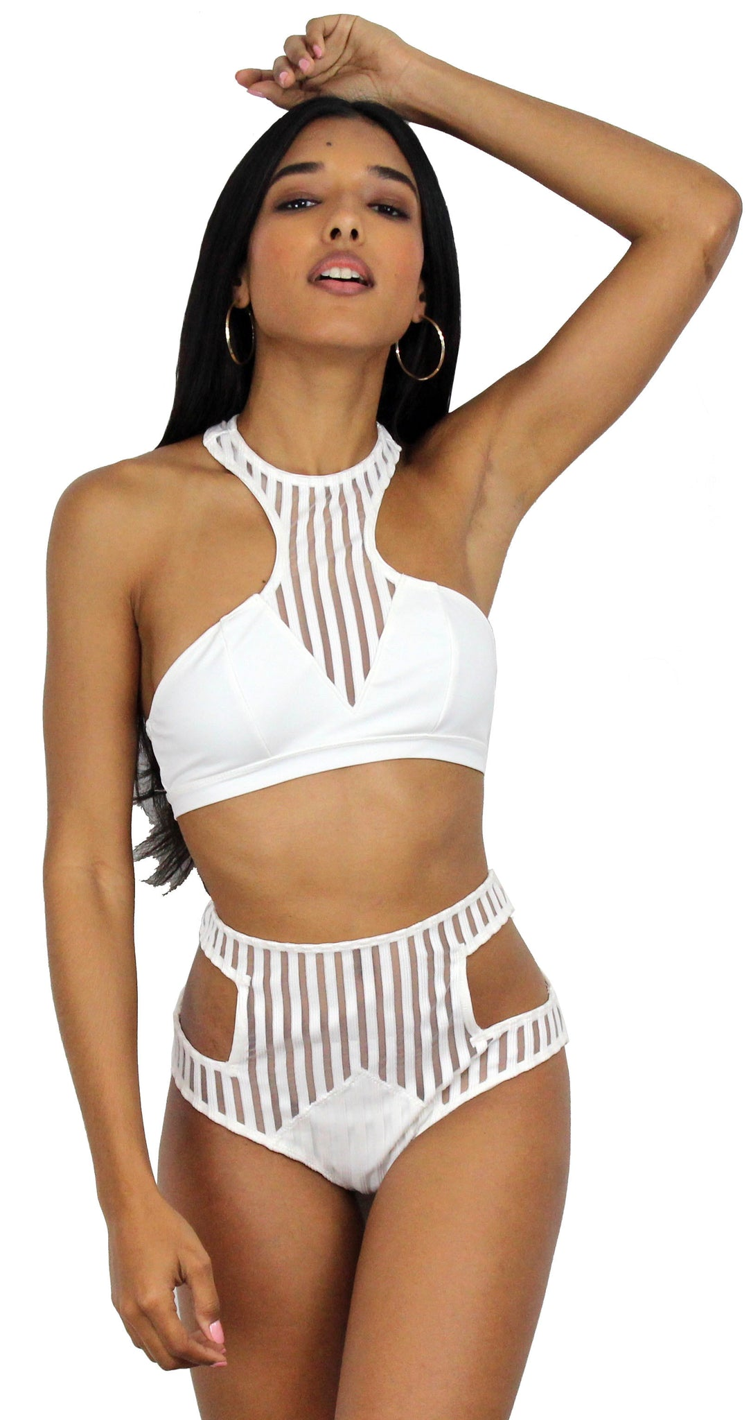 Gorgeous White Stripes High Waist Bikini