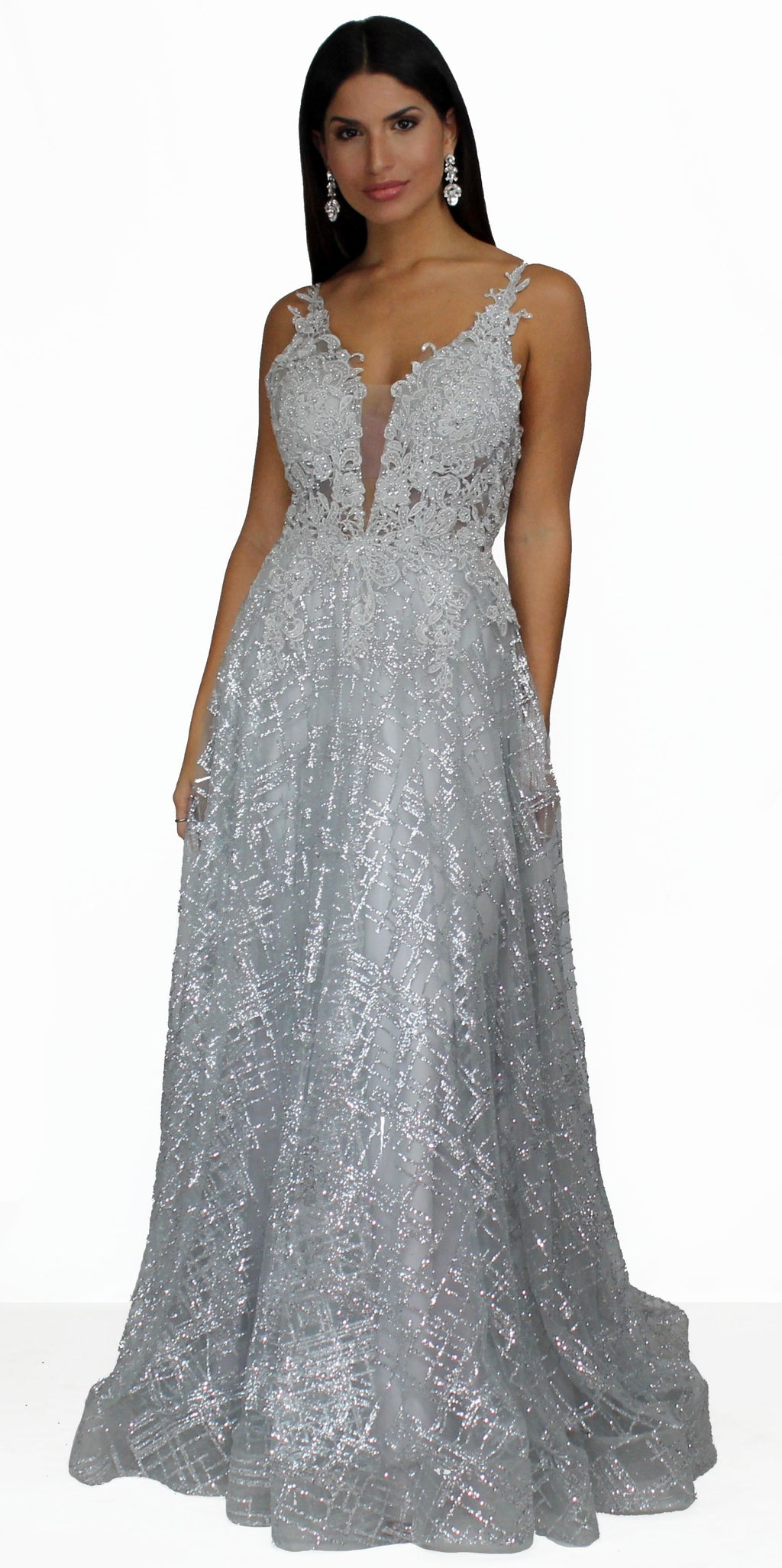 Romantic Moment and Glitter Silver Formal Gown