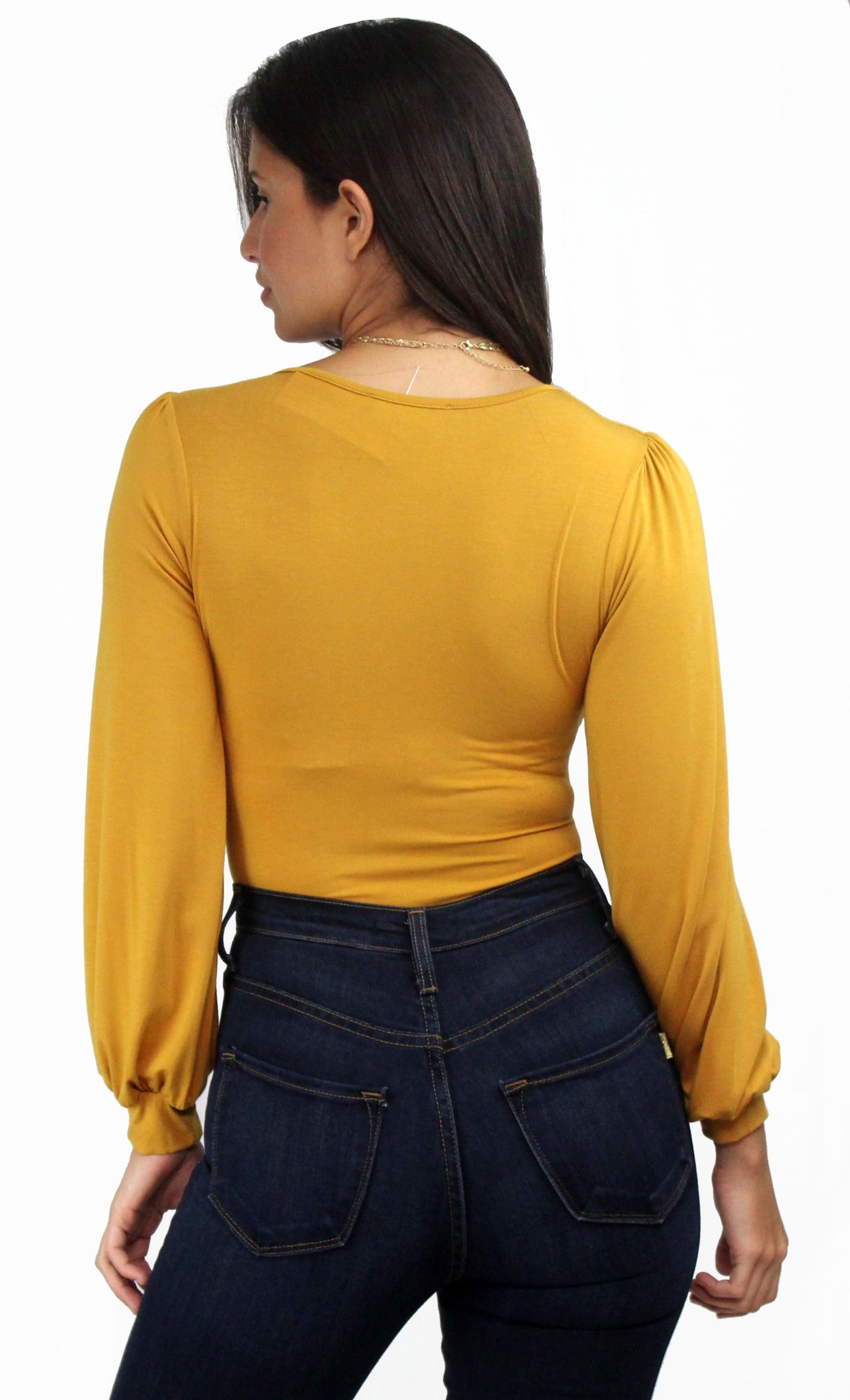 Cozy Up Mustard Long Sleeves Bodysuit