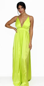 Pop the Prosecco Lime Satin Maxi Dress