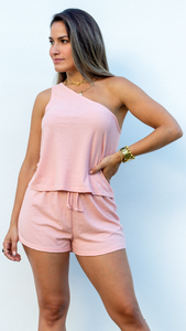 Takin'it Easy Peach Knit Two-Piece Set