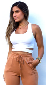 Basics Alive White Cutout Crop Top