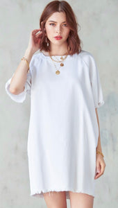 Shift and Shout White Denim Shift Dress