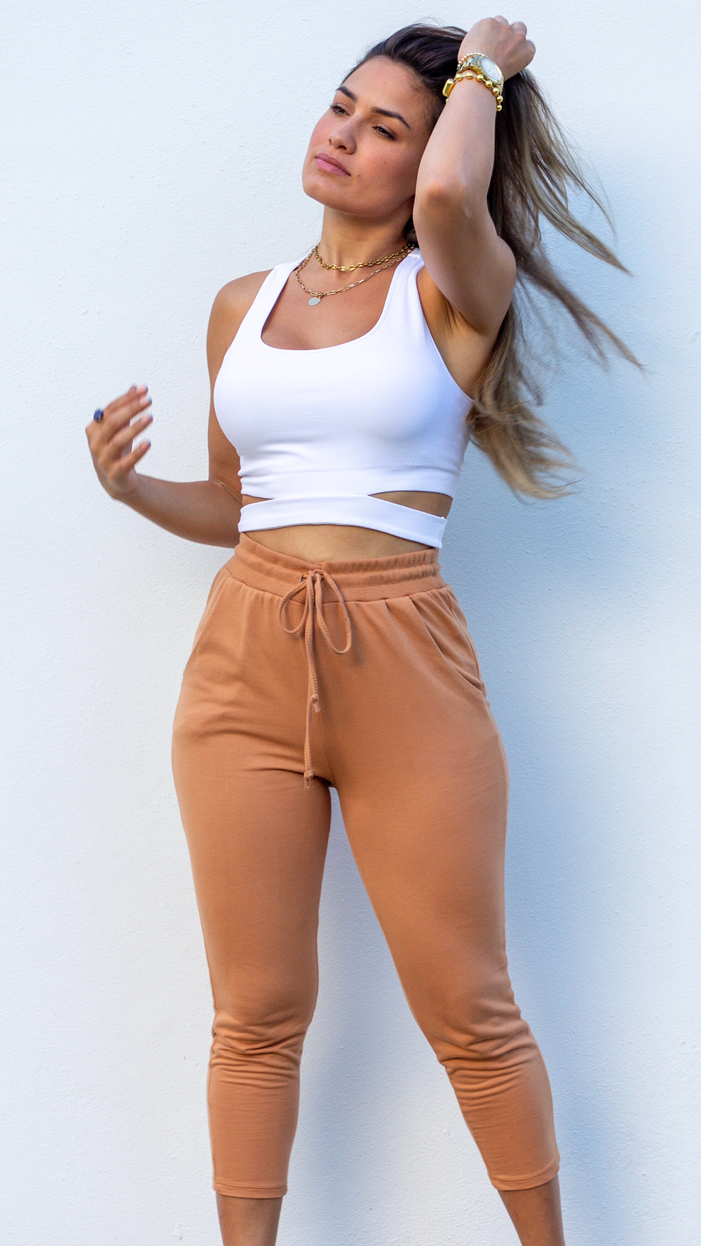 The Bottom Line Apricot Cropped Joggers