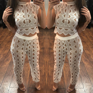 White Crochet Two-Piece Set