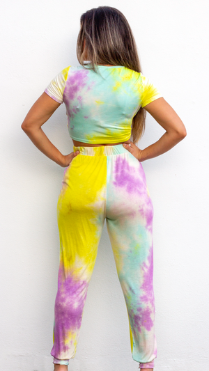 Cozy Livin' Yellow & Lilac Tie Dye Jogger Set