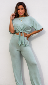 Simply Wonderful Mint Long Pants Two-Piece Set