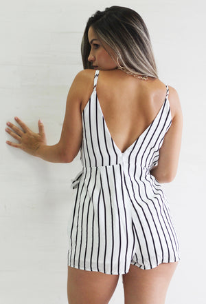 Walk with You White Stripes Romper