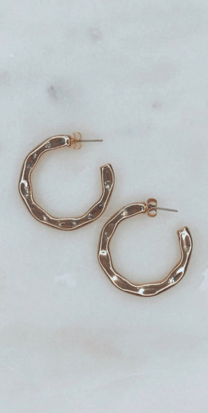 Simple and Sweet Hammered Gold Hoop Earrings