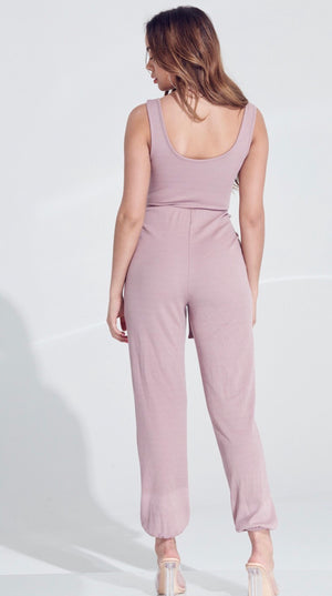Feeling Groovy Mauve Tie Knit Jumpsuit
