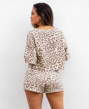 Wild Ideas Nude Leopard Print Two-Piece Set