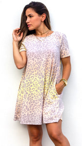 Wildly Cozy Yellow Leopard Print Shift Dress