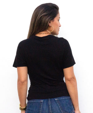 Basic Crossed Knit Black Tee