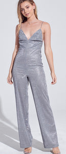 Silver Fever in V-Neck Shimmer Jumpsuit