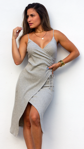 Freestyle Grey Knit Midi Dress